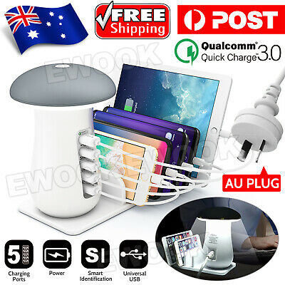 AU27.80 • Buy Multi Port USB Charger Mushroom Lamp Charging Station Dock For Samsung Iphone AU