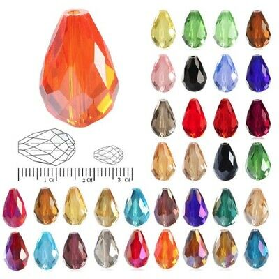 50pcs/72pcs Crystal Beads Loose Spacer Glass Teardrop Faceted Jewellery 6mm/10mm • 1.46£