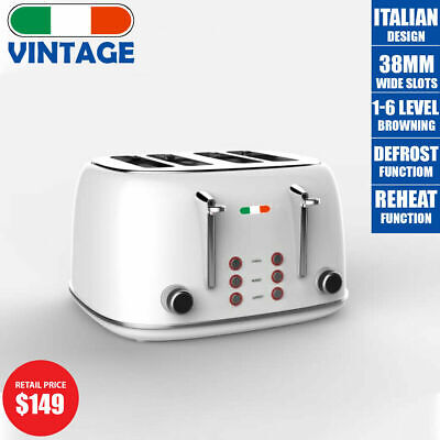 AU95.99 • Buy Vintage Electric 4 Slice Toaster White Stainless Steel 1650W Not Delonghi