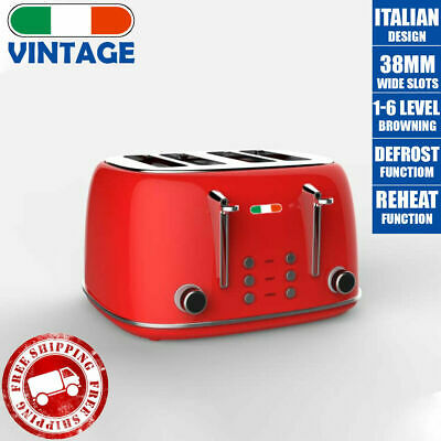 AU86.39 • Buy Vintage Electric 4 Slice Toaster Red Stainless Steel 1650W Not Delonghi