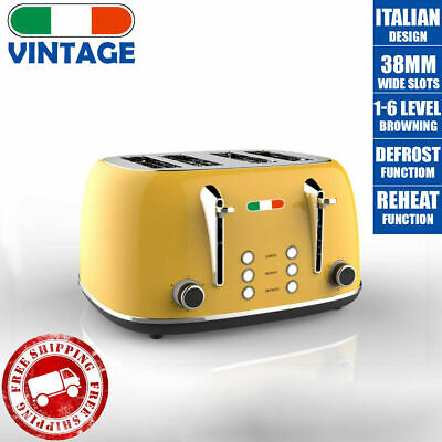 AU86.39 • Buy Vintage Electric 4 Slice Toaster Yellow Stainless Steel 1650W Not Delonghi