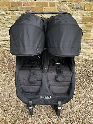 Baby Jogger City Mini GT Double Black Pushchair Buggy With Extras • 350£
