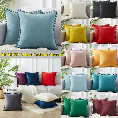 16  18  20  Pom-poms Velvet Plain Cushion Covers Pillow Cases Home Sofa Decor ZX • 4.59£