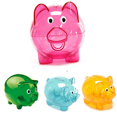 £7.59 • Buy Kids Gift Personalised Clear Piggy Pig Bank Money Box Coins Children Saving