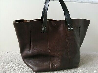 Womens M&S Autograph Side Bag Handbag Medium Brown Black Leather Suede Lining  • 24.90£