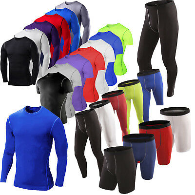 Mens Compression Base Layer Thermal Sports Gym Top T-Shirt Leggings Shorts Pants • 7.29£