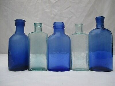 5 Superb Blue Glass Chemist Medicine Apothecary Vintage Old Bottles Poison Cure • 20£