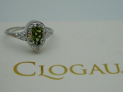 Clogau Silver & 9ct Rose Gold Enchanted Forest Peridot Ring RRP £119.00 Size P • 99.95£