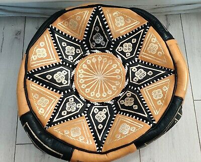 HANDMADE LEATHER MOROCCAN POUFFE - Black & Yellow • 41.95£