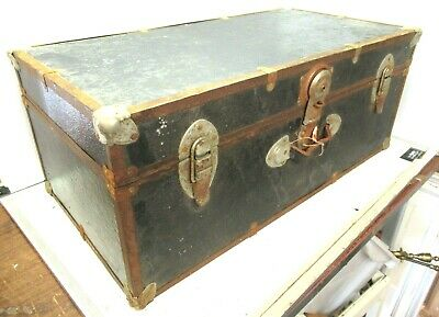 Vintage Large Wooden Chest Trunk Ideal Coffee Table Project • 52.49£