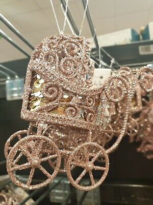 Big Christmas Rose Gold Baby Buggy Cart Xmas Tree Decoration Bauble Ornament • 6.99£