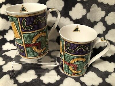 Pair Of Vintage Retro AMI Tea Coffee Fine Bone China Mugs London England • 8.95£