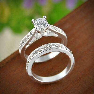 £3.69 • Buy Women Mens Lady Wedding Engagement Set Silver Plated Crystal Ring Jewelry UK