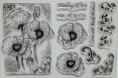 NEW 9cm Poppy Flowers Thinking Of You Large Acrylic Stamp Birthday Card Making • 7.99£