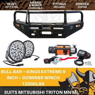 AU1650 • Buy PS4X4 Deluxe Steel Bull Bar + Kings Winch Combo To Suit Mitsubishi Triton MN ML