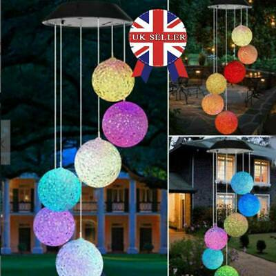 Hanging Wind Chimes Colour Changing Solar Powered LED Ball Lights Garden Outdoor • 9.45£