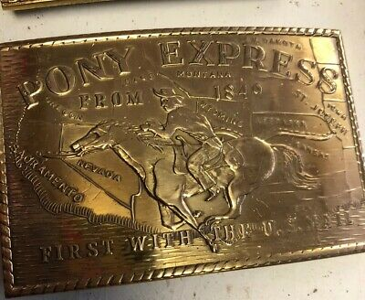 """American Solid Brass Buckle """"pony Express"""" • 5£"""