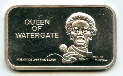 Queen Of Watergate 999 Silver 1 Oz Art Bar Medal Ingot Martha Mitchell - BJ831 • 35.73£