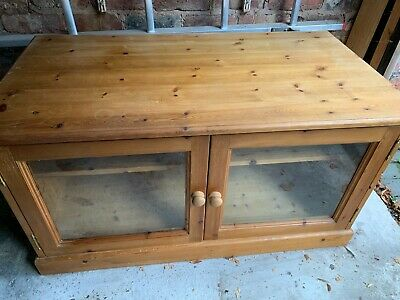 Solid Antique Pine TV Cupboard With Glass Doors And Mid-height Shelf. • 25£