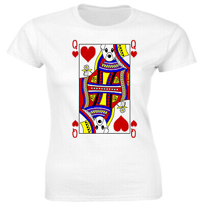 Mi Dog, Womens, Queen Of Hearts Inspired Playing Card,  Fitted T Shirt, White • 11.99£
