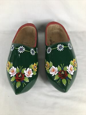 £22.99 • Buy Narrow Boat Barge Ware Canal Art Folk Style Large Wooden Clogs (ref T653)