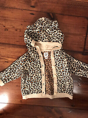 Gap Baby Girl Leopard Print Hooded Cardigan. Snug And Warm With Ears 3-6 Months • 3£