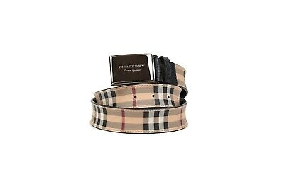 BURBERRY GEORGE Haymarket Plaque Buckle Check Leather Belt Made In Italy • 221.42£