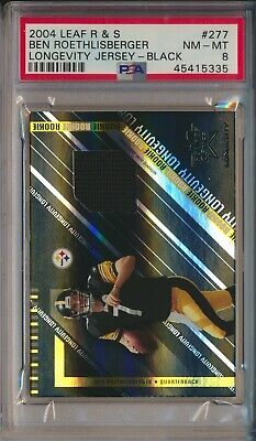$169.95 • Buy 2004 Ben Roethlisberger Leaf R&S Longevity Black Rookie Jersey 02/10 PSA 8