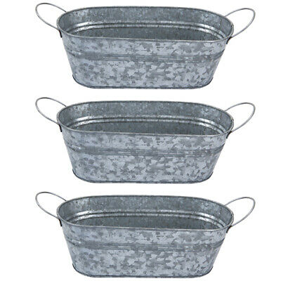 [Set Of 3] Premium Finish Galvanised Oval Planter With Handles Garden & Flowers • 14.99£