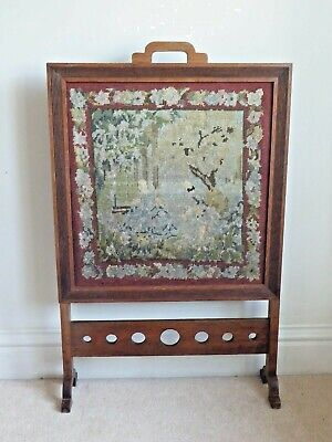 £55 • Buy Antique Art Deco Period Mahogany Firescreen With Tapestry Panel
