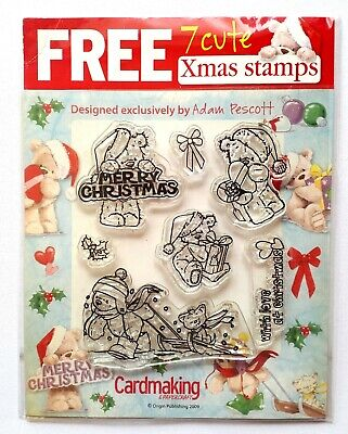 7 Cute Bentley Bear Christmas Clear Rubber Stamps • 3£