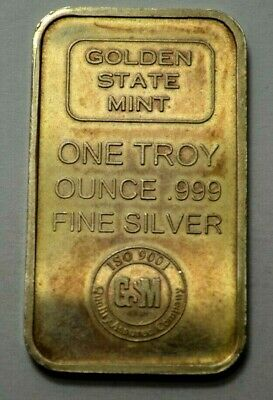 1 Oz 999 Fine Silver Bar Golden State Mint Bullion Vintage Ingot Nat.toning ! • 35.76£