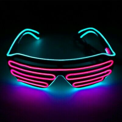 $9.39 • Buy Glow LED Glasses Light Up Shades Flashing Rave Festival Party Neon EL Wire Blink