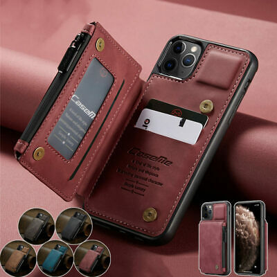 AU18.75 • Buy For IPhone 12 Pro Max Mini 11 Flip Buckle Card Slots Leather Case Wallet Cover