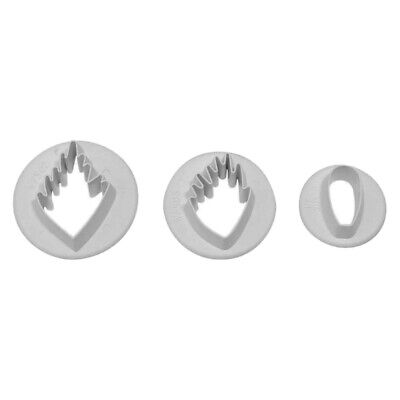 PME Set Of 3 WOOD ANEMONE Flower Plastic Icing Cut Out Cutters Sugarcraft • 4.99£