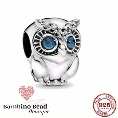 £9.99 • Buy Silver Charm Pandora  925 Beautiful Sparkly Owl With Cleaning Cloth Gift Wrapped