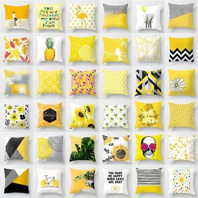 Fashion Geometric Cushion Mustard Yellow And Grey Home Decor Sofa Case Cover UK • 2.99£