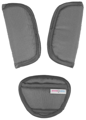 3 Piece Baby Stroller Car Seat Strap Covers & Crotch Pad Universal Grey • 3.99£