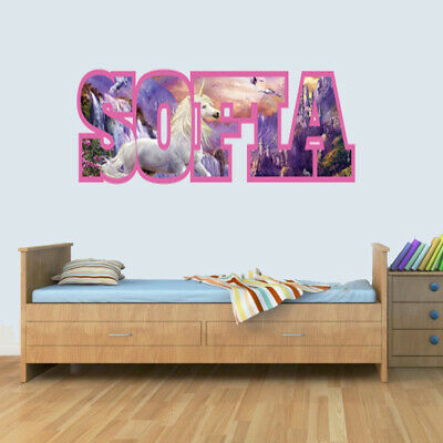 Customisable UNICORN Childrens Name Wall Art Decal Vinyl Stickers For Boys/Girls • 7.99£