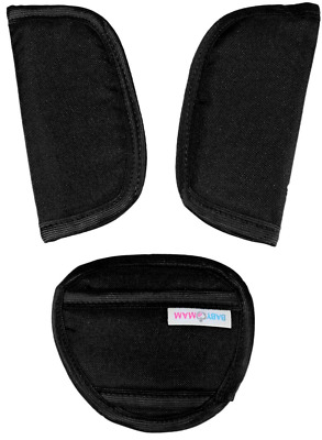 Car Seat Strap Covers & Crotch Pad 3 Piece Baby Stroller Black • 3.99£