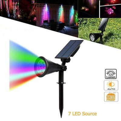 7LED Solar Powered Color Changing RGB Spotlight Outdoor Garden Wall Light • 13.89£