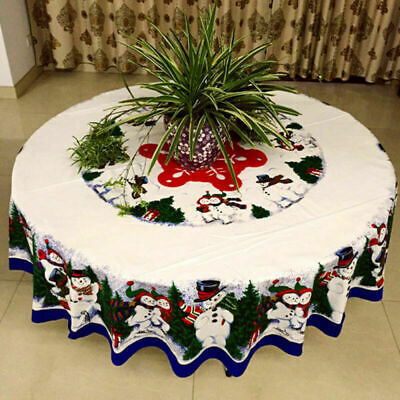 Christmas  Round Tablecloth Table Cover Pine Tree Xmas Snowman Tablecloth Cotton • 12.99£