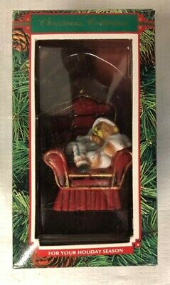 Christmas Collection Tree Ornament Teddy Bear Sleeping In Red Chair Holiday • 7.59£