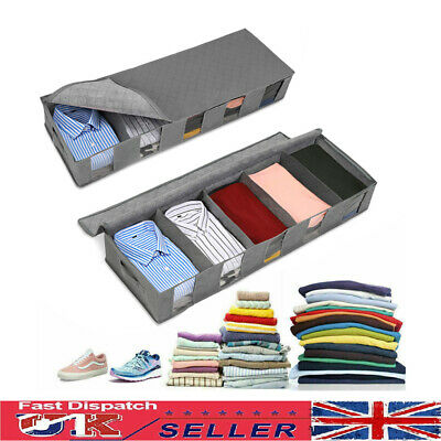 UK Large Capacity Under Bed Storage Bag Box 5 Compartments Clothes Organizer • 6.29£