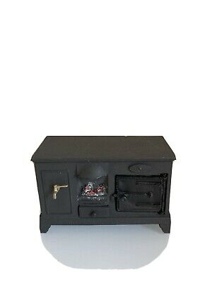 Dolls House Kitchen Vintage Stove 1/12 Scale Black. Opening Oven Door And Drawer • 9.99£