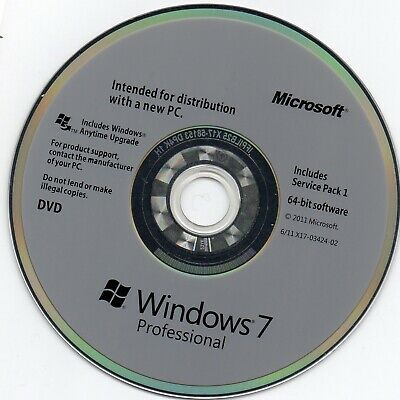 Windows 7 SP1 Professional  Operating System Software CD 64 Bit With Key • 12.50£