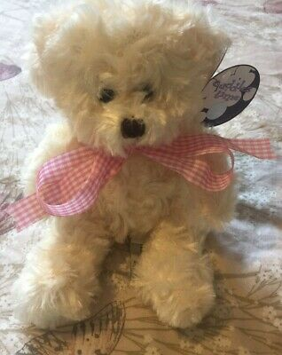 Teddy Bear With Pink And White Ribbon Cuddles Time Soft Cuddly Toy • 8.99£