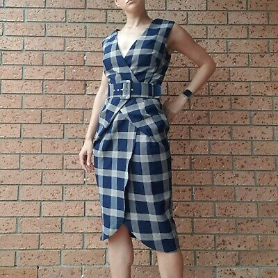 AU19 • Buy Asos Tartan Wrap Look Midi Pencil Dress With Belt (sz 8)