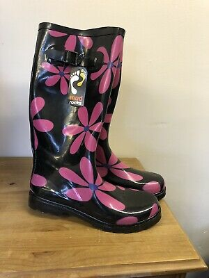Mud Rocks Black And Pink Flower Wellies Size UK 7-8 Eur 41 • 10£