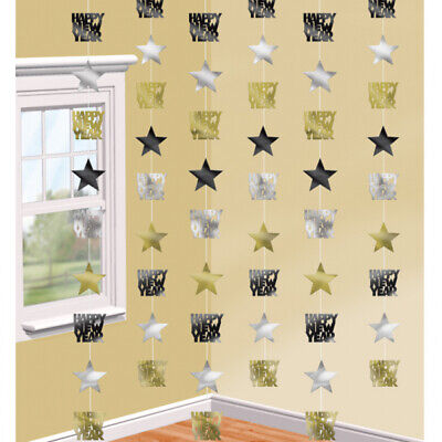 £3.89 • Buy New Years Eve Party  Black, Silver & Gold Happy New Year Star String Decoration